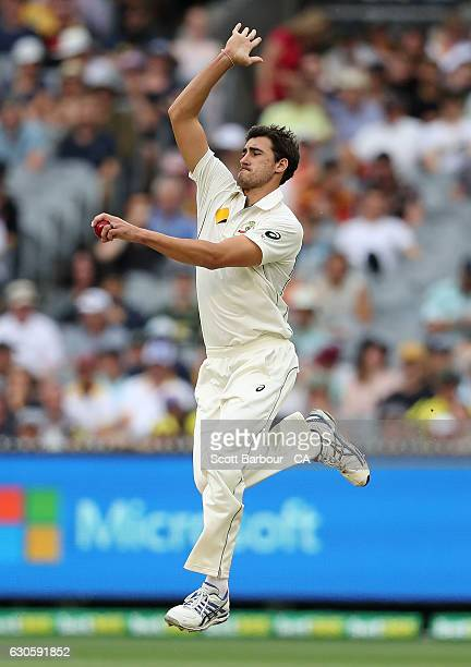 Mitchell Starc of Australia bowls during day three of the Second Test match between Australia and Pakistan at Melbourne Cricket Ground on December 28...