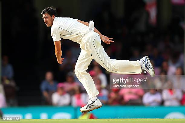 Mitchell Starc of Australia bowls during day three of the Third Test match between Australia and Pakistan at Sydney Cricket Ground on January 5 2017...