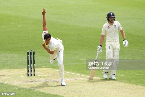 Mitchell Starc of Australia bowls during day two of the First Test Match of the 2017/18 Ashes Series between Australia and England at The Gabba on...