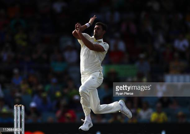 Mitchell Starc of Australia bowls during day two of the Second Test match between Australia and Sri Lanka at Manuka Oval on February 02 2019 in...