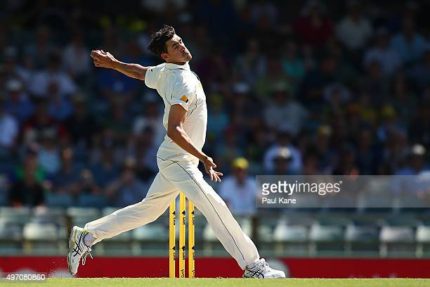 Mitchell Starc of Australia bowls during day two of the second Test match between Australia and New Zealand at the WACA on November 14 2015 in Perth...