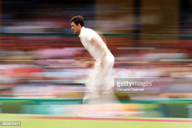 Mitchell Starc of Australia bowls during day two of the Third Test match between Australia and Pakistan at Sydney Cricket Ground on January 4 2017 in...