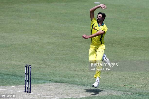Mitchell Starc of Australia bowls during game five of the One Day International match between Australia and England at Perth Stadium on January 28...