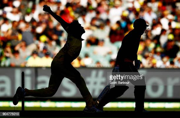 Mitchell Starc of Australia bowls during game one of the One Day International Series between Australia and England at Melbourne Cricket Ground on...