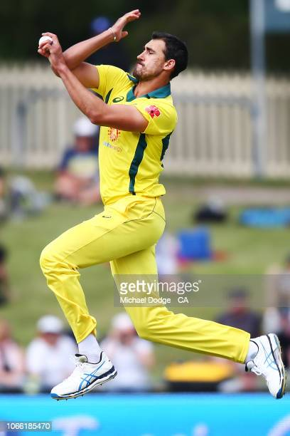 Mitchell Starc of Australia bowls during game three of the One Day International series between Australia and South Africa at Blundstone Arena on...