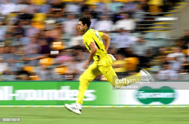 Mitchell Starc of Australia bowls during game two of the One Day International series between Australia and England at The Gabba on January 19 2018...