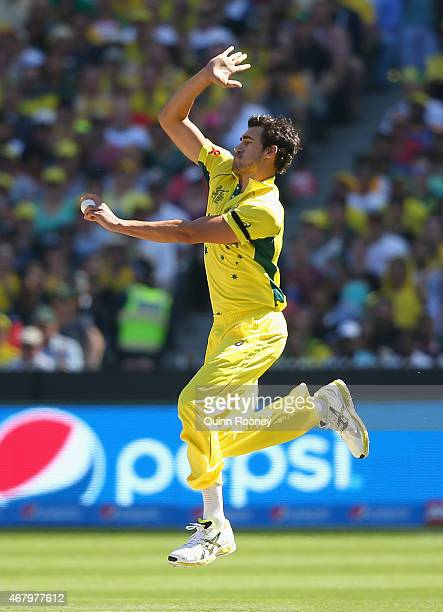 Mitchell Starc of Australia bowls during the 2015 ICC Cricket World Cup final match between Australia and New Zealand at Melbourne Cricket Ground on...