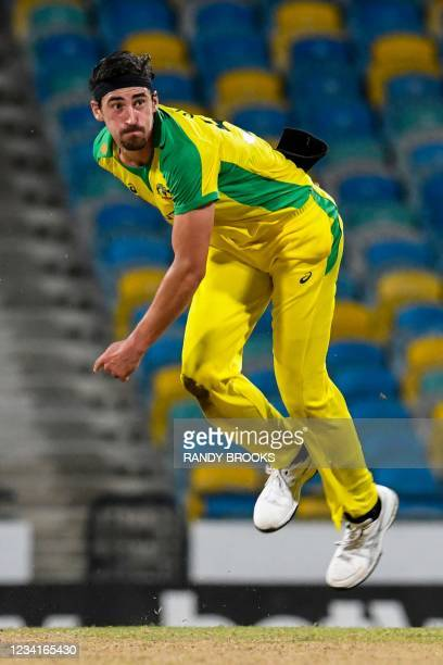 Mitchell Starc of Australia bowls during the 2nd ODI between West Indies and Australia at Kensington Oval, Bridgetown, Barbados, on July 24, 2021.