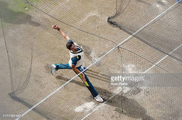 Mitchell Starc of Australia bowls during the Australia Nets Session at Emirates Old Trafford on September 02, 2019 in Manchester, England.