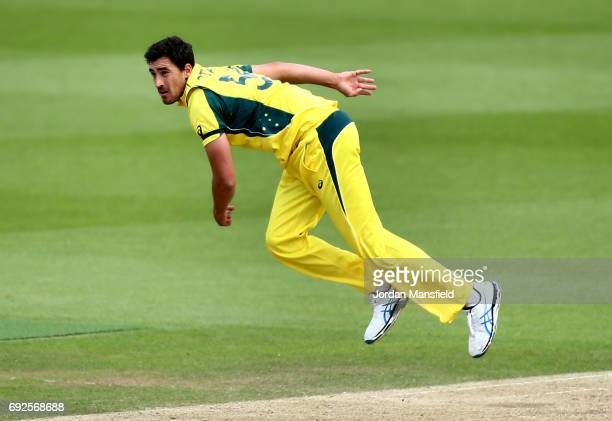 Mitchell Starc of Australia bowls during the ICC Champions Trophy match between Australia and Bangladesh at The Kia Oval on June 5 2017 in London...