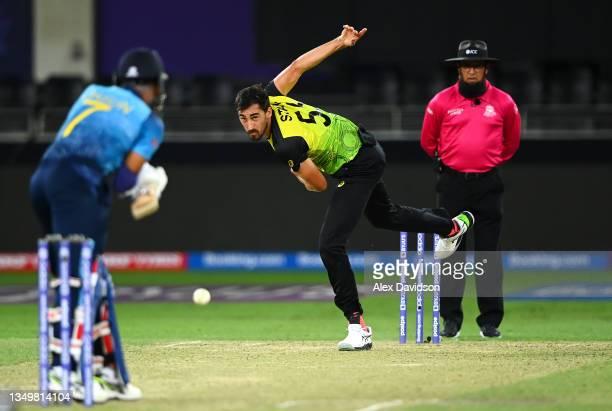 Mitchell Starc of Australia bowls during the ICC Men's T20 World Cup match between Australia and Sri Lanka at Dubai International Stadium on October...