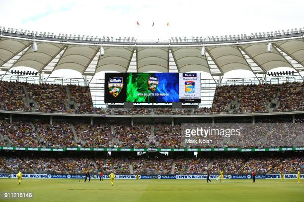 Mitchell Starc of Australia bowls the first ball during game five of the One Day International match between Australia and England at Perth Stadium...