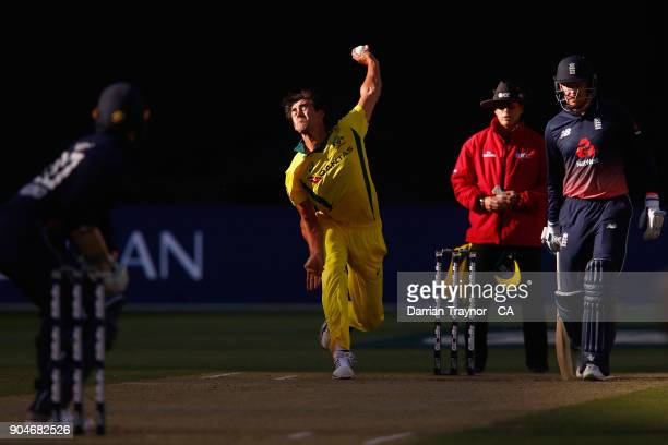 Mitchell Starc of Australia bowls to Jason Roy of England during game one of the One Day International Series between Australia and England at...