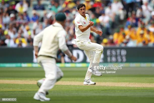 Mitchell Starc of Australia catches Jonny Bairstow of England off his own delivery during day three of the Second Test match during the 2017/18 Ashes...