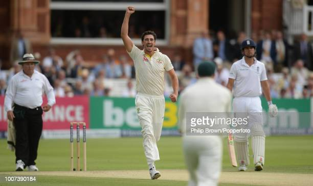 Mitchell Starc of Australia celebrates after dismissing England opener Adam Lyth for 0 during the 2nd Ashes Test match between England and Australia...