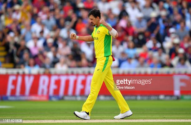 Mitchell Starc of Australia celebrates after dismissing Jonny Bairstow of England during the SemiFinal match of the ICC Cricket World Cup 2019...