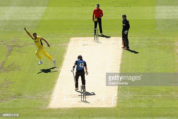 Mitchell Starc of Australia celebrates after getting the wicket of Brendon McCullum of New Zealand during the 2015 ICC Cricket World Cup final match...