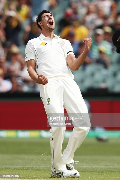 Mitchell Starc of Australia celebrates after getting the wicket of Kane Williamson of New Zealand during day one of the Third Test match between...