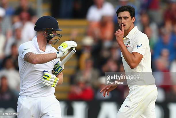 Mitchell Starc of Australia celebrates after taking the wicket of Ben Stokes of England during day one of the 1st Investec Ashes Test match between...