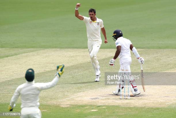Mitchell Starc of Australia celebrates after taking the wicket of Kusal Perera of Sri Lanka during day four of the Second Test match between...