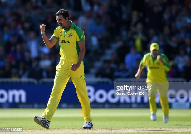 Mitchell Starc of Australia celebrates after taking the wicket of Jason Holder of West Indies during the Group Stage match of the ICC Cricket World...