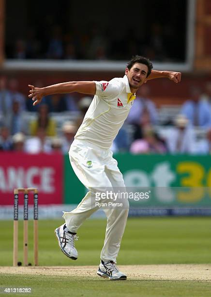 Mitchell Starc of Australia celebrates after taking the wicket of Adam Lyth of England during day four of the 2nd Investec Ashes Test match between...