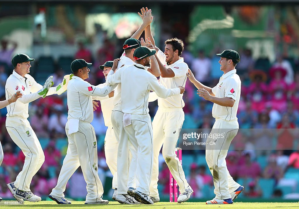 Mitchell Starc of Australia celebrates after taking the wicket of Sarfraz Ahmed of Pakistan during day three of the Third Test match between Australia and Pakistan at Sydney Cricket Ground on January 5, 2017 in Sydney, Australia.