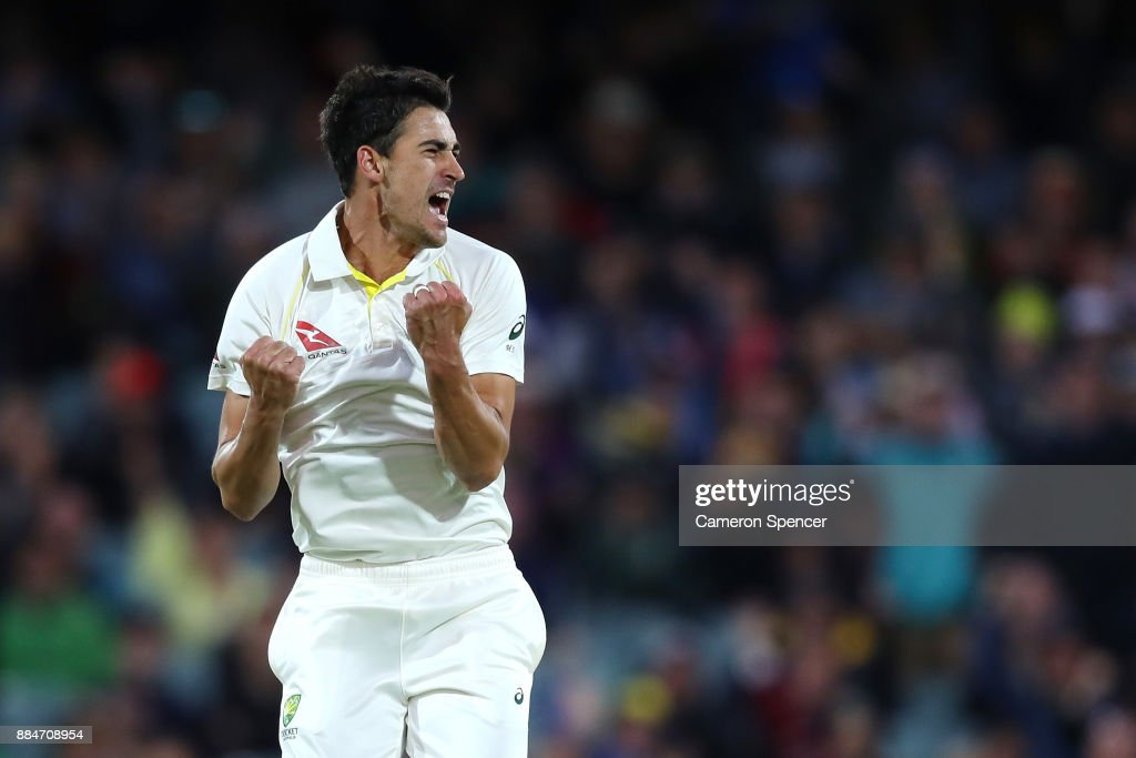 Mitchell Starc of Australia celebrates after taking the wicket of Mark Stoneman of England for lbw during day two of the Second Test match during the 2017/18 Ashes Series between Australia and England at Adelaide Oval on December 3, 2017 in Adelaide, Australia.