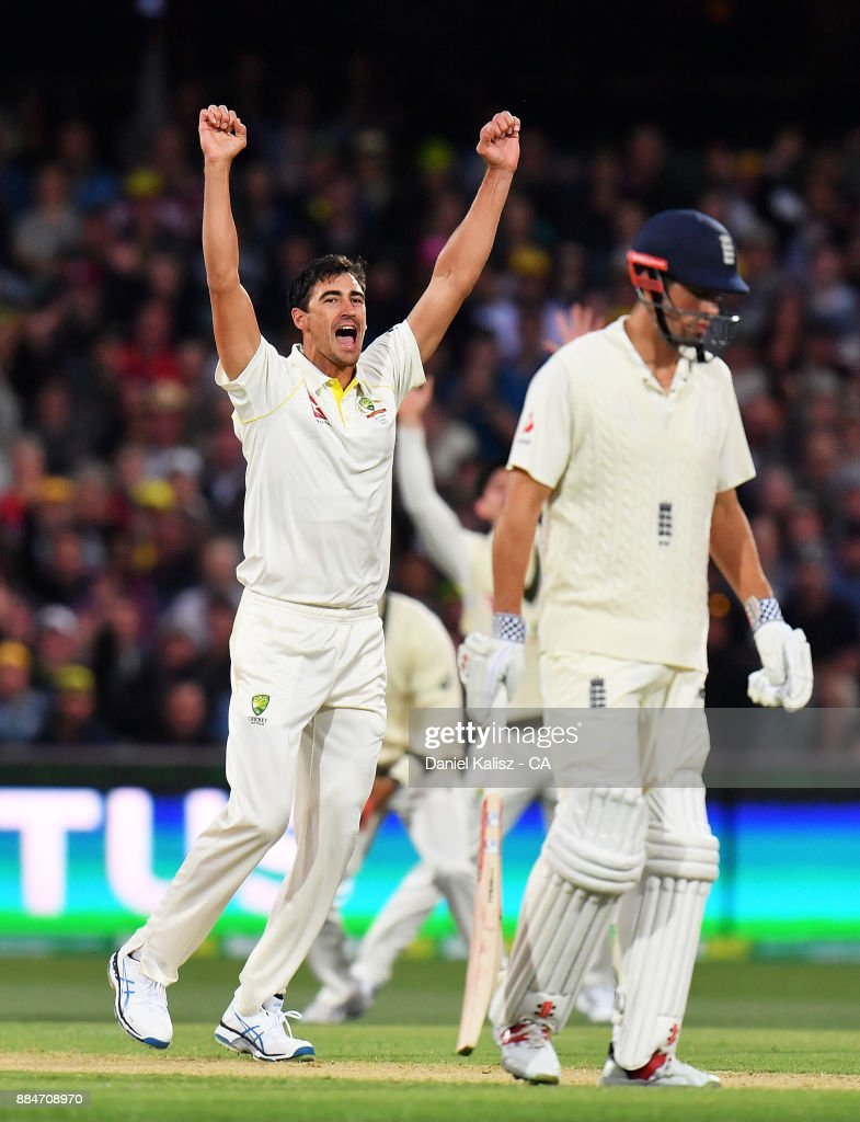 Mitchell Starc of Australia celebrates after taking the wicket of Mark Stoneman of England during day two of the Second Test match during the 2017/18 Ashes Series between Australia and England at Adelaide Oval on December 3, 2017 in Adelaide, Australia.