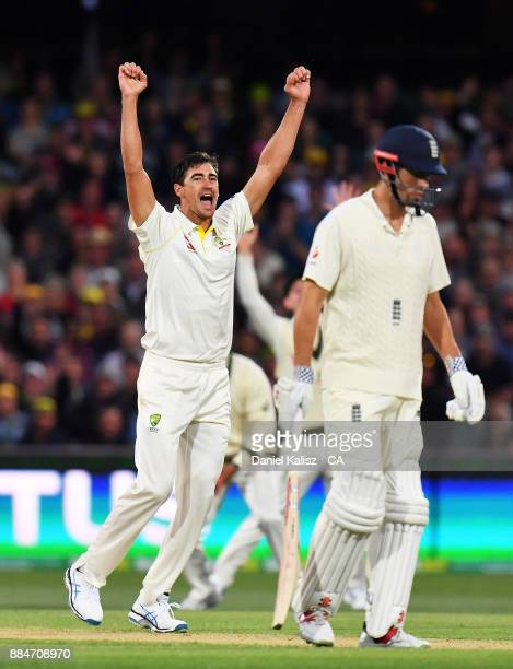 Mitchell Starc of Australia celebrates after taking the wicket of Mark Stoneman of England during day two of the Second Test match during the 2017/18...