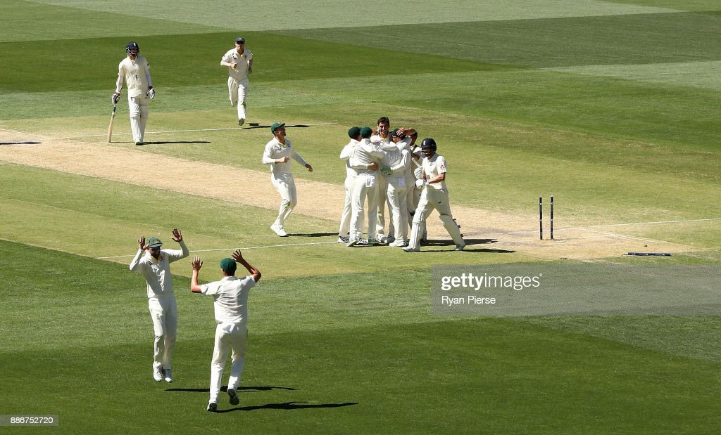 Mitchell Starc of Australia celebrates after taking the wicket of Jonny Bairstow of England to claim victory during day five of the Second Test match during the 2017/18 Ashes Series between Australia and England at Adelaide Oval on December 6, 2017 in Adelaide, Australia.