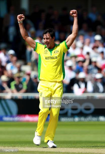 Mitchell Starc of Australia celebrates after trapping Chris Gayle LBW during the Group Stage match of the ICC Cricket World Cup 2019 between...