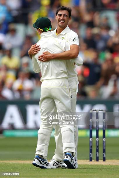 Mitchell Starc of Australia celebrates catching Jonny Bairstow of England off his own delivery during day three of the Second Test match during the...