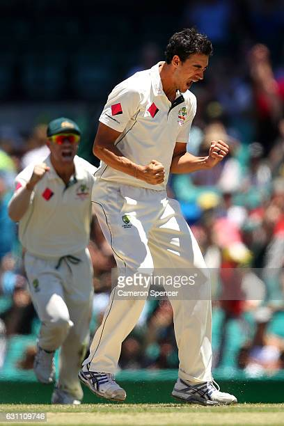 Mitchell Starc of Australia celebrates dismissing Asad Shafiq of Pakistan during day five of the Third Test match between Australia and Pakistan at...