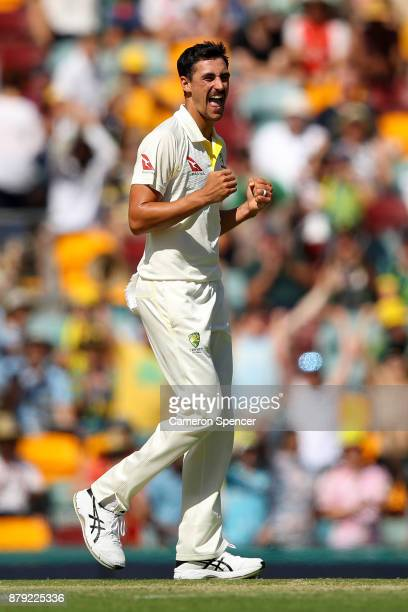 Mitchell Starc of Australia celebrates dismissing Jonny Bairstow of England during day four of the First Test Match of the 2017/18 Ashes Series...