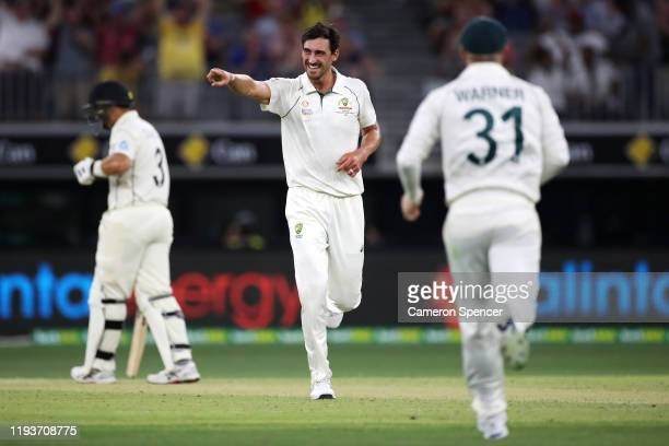 Mitchell Starc of Australia celebrates dismissing Neil Wagner of New Zealand during day two of the First Test match between Australia and New Zealand...