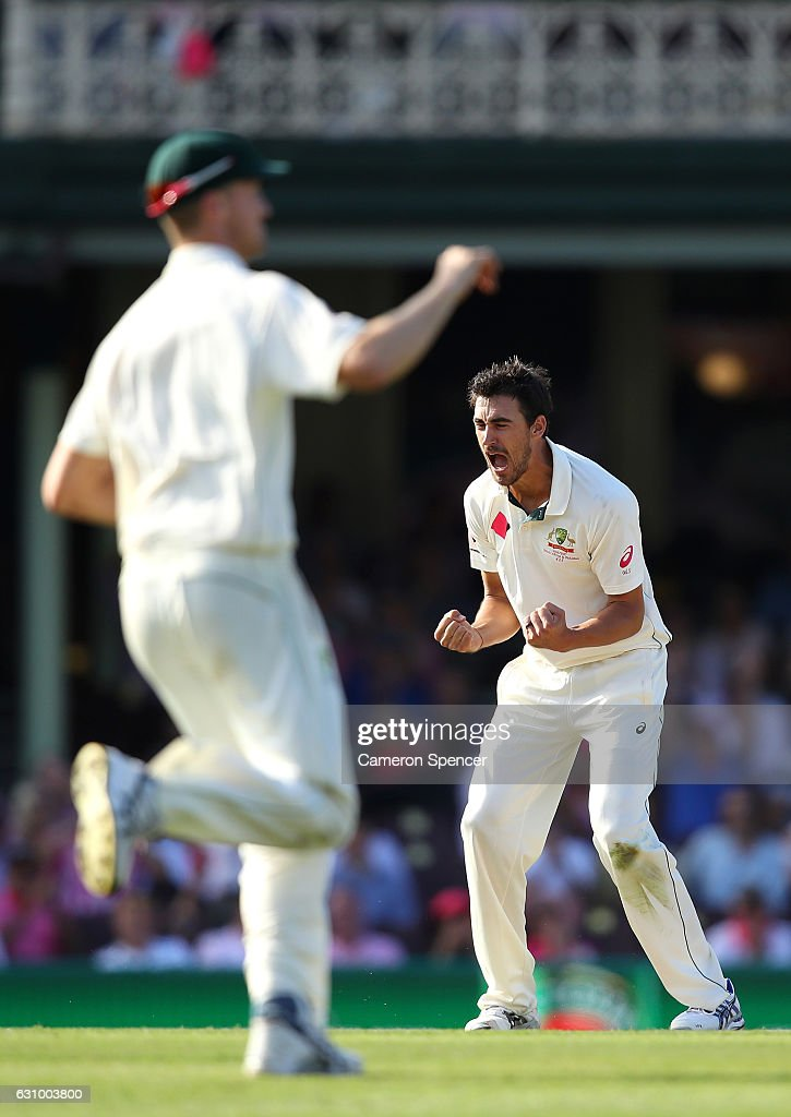 Mitchell Starc of Australia celebrates dismissing Sarfraz Ahmed of Pakistan during day three of the Third Test match between Australia and Pakistan at Sydney Cricket Ground on January 5, 2017 in Sydney, Australia.
