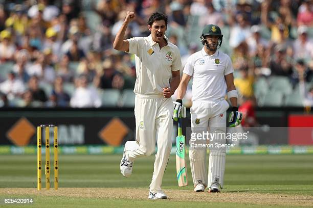 Mitchell Starc of Australia celebrates dismissing Stephen Cook of South Africa during day one of the Third Test match between Australia and South...