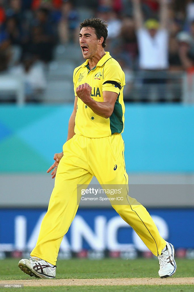 Mitchell Starc of Australia celebrates dismissing Tim Southee of New Zealand during the 2015 ICC Cricket World Cup match between Australia and New Zealand at Eden Park on February 28, 2015 in Auckland, New Zealand.
