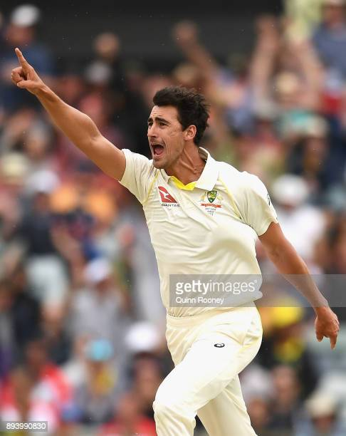 Mitchell Starc of Australia celebrates getting the wicket of James Vince of England during day four of the Third Test match during the 2017/18 Ashes...
