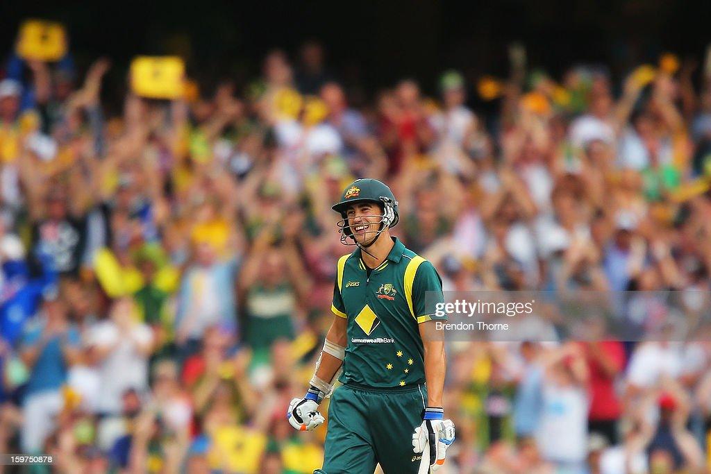 Mitchell Starc of Australia celebrates scoring his half century during game four of the Commonwealth Bank one day international series between Australia and Sri Lanka at Sydney Cricket Ground on January 20, 2013 in Sydney, Australia.