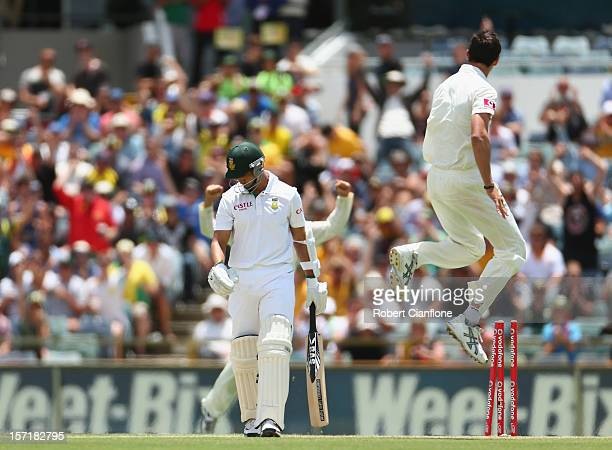 Mitchell Starc of Australia celebrates taking the wicket of Alviro Petersen of South Africa during day one of the Third Test Match between Australia...
