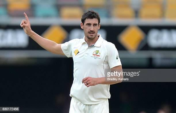 Mitchell Starc of Australia celebrates taking the wicket of Azhar Ali of Pakistan during day four of the First Test match between Australia and...