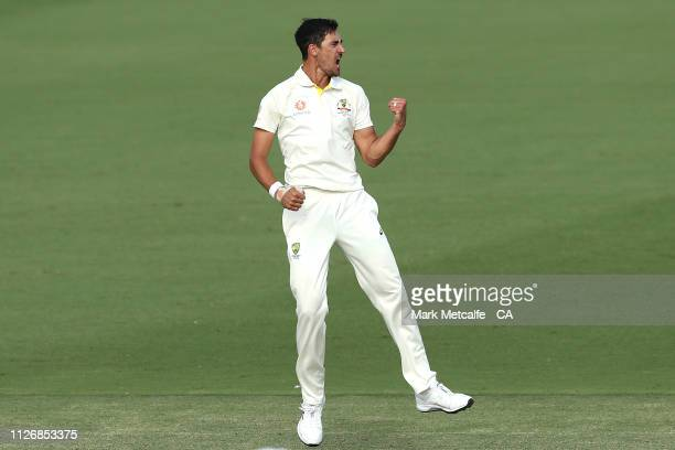 Mitchell Starc of Australia celebrates taking the wicket of Dinesh Chandimal of Sri Lanka during day two of the Second Test match between Australia...