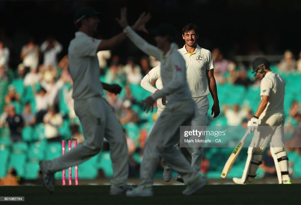 Mitchell Starc of Australia celebrates taking the wicket of Joe Root of England during day one of the Fifth Test match in the 2017/18 Ashes Series between Australia and England at Sydney Cricket Ground on January 4, 2018 in Sydney, Australia.