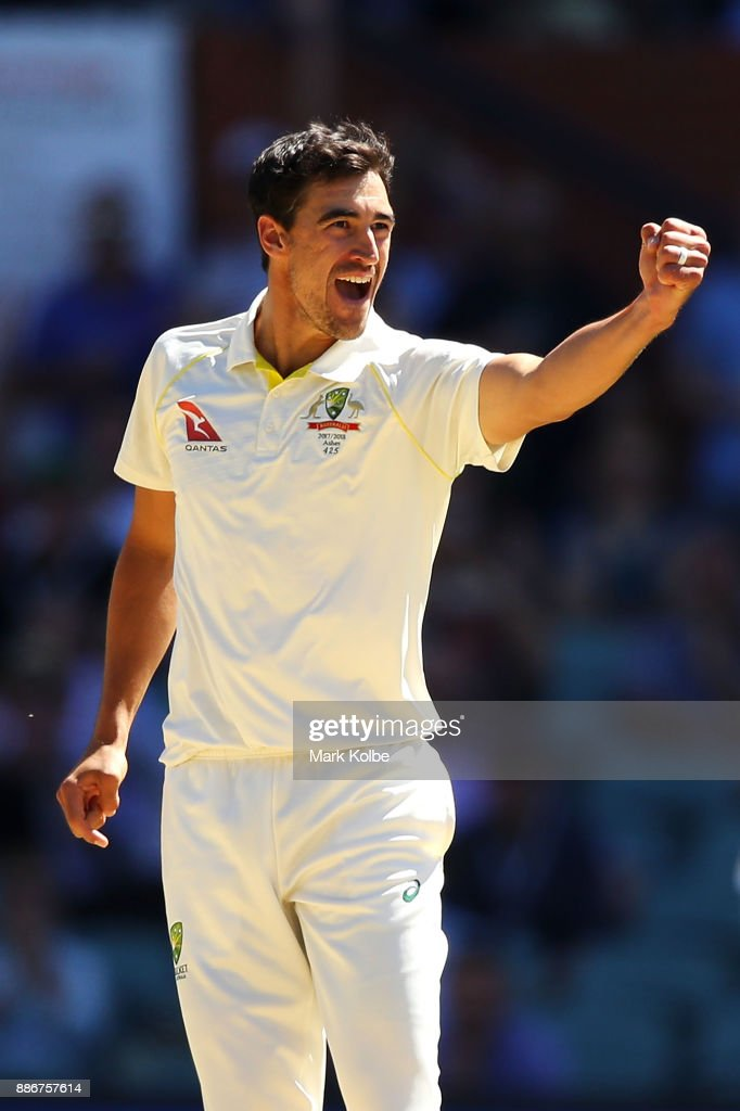 Mitchell Starc of Australia celebrates taking the wicket of Jonny Bairstow of England to win the test for Australia during day five of the Second Test match during the 2017/18 Ashes Series between Australia and England at Adelaide Oval on December 6, 2017 in Adelaide, Australia.