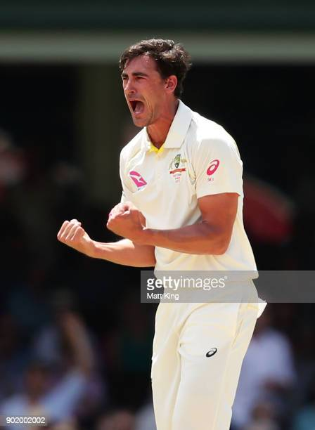 Mitchell Starc of Australia celebrates taking the wicket of Mark Stoneman of England during day four of the Fifth Test match in the 2017/18 Ashes...