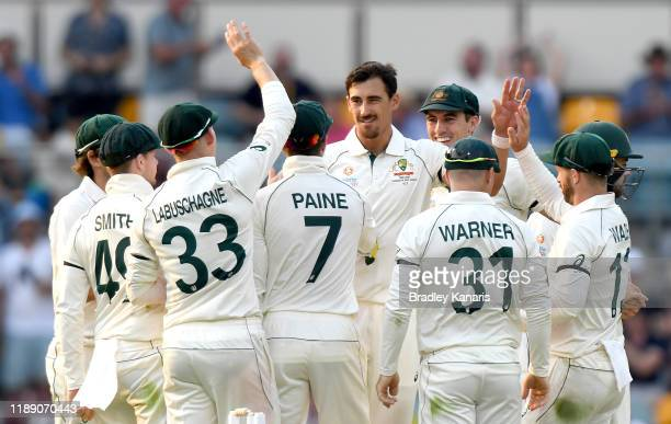 Mitchell Starc of Australia celebrates taking the wicket of Yasir Shah of Pakistan during day one of the 1st Domain Test between Australia and...