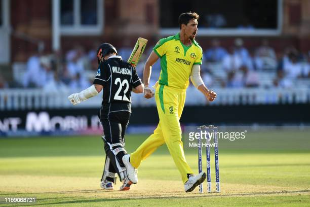 Mitchell Starc of Australia celebrates the crucial wicket of Kane Williamson of New Zealand during the Group Stage match of the ICC Cricket World Cup...