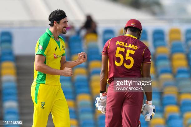 Mitchell Starc of Australia celebrates the dismissal of Kieron Pollard of West Indies during the 3rd and final ODI between West Indies and Australia...
